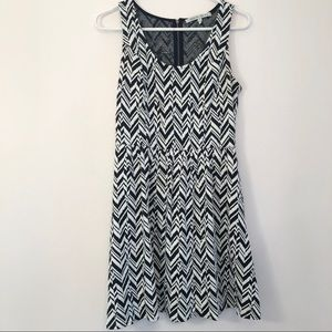 Collective Concepts Navy and White Chevron Dress